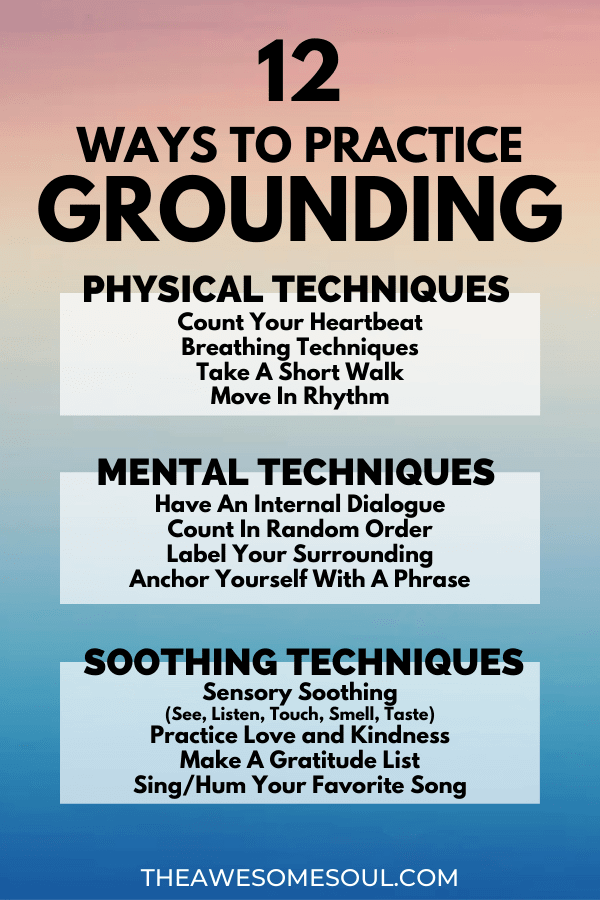 12 Grounding Techniques To Relieve Anxiety And Panic Attacks - Info Graphic List
