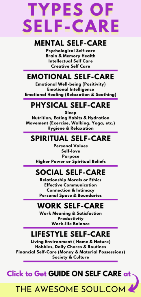 Self-Care Guide: What it really MEANS and Why is it IMPORTANT - Types of Self-Care - pin